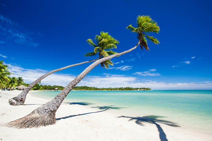 White sandy beaches in Fiji