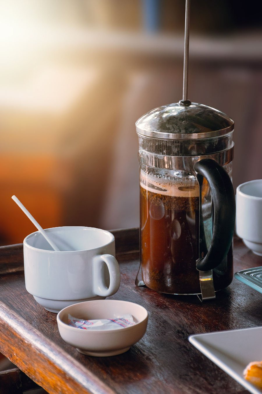 Coffee made with a French press is rich and flavorful.