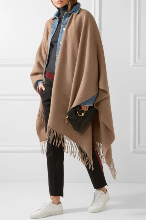 Made in Italy of super-soft camel wool, this caramel-colored wrap looks smart layered over your clothing.