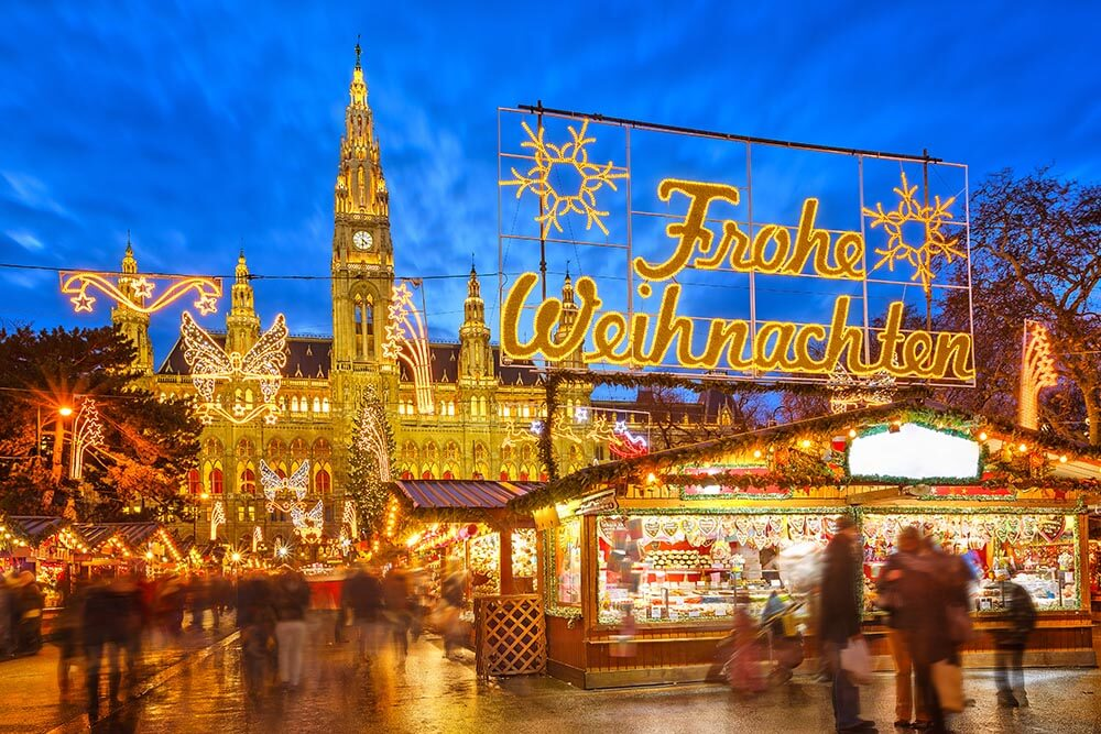 Explore the opulent Christmas market in Vienna, Austria