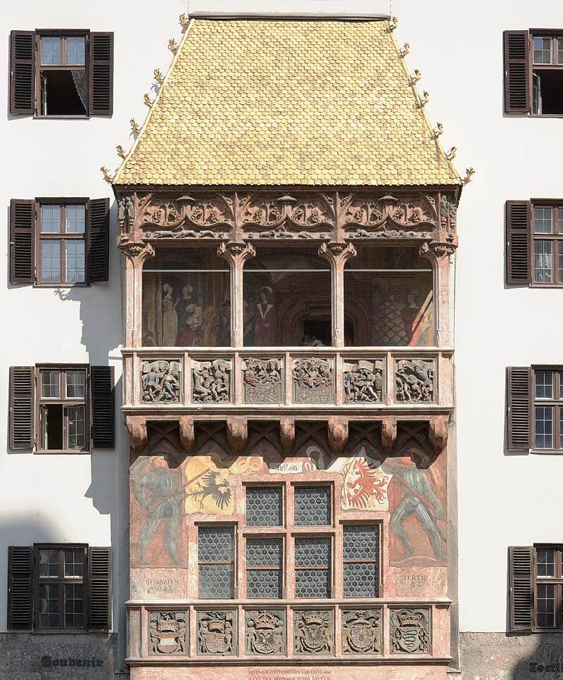The Golden Roof in Old Town Innsbruck - image credit by Ikiwaner [GFDL or CC-BY-SA-3.0], from Wikimedia Commons