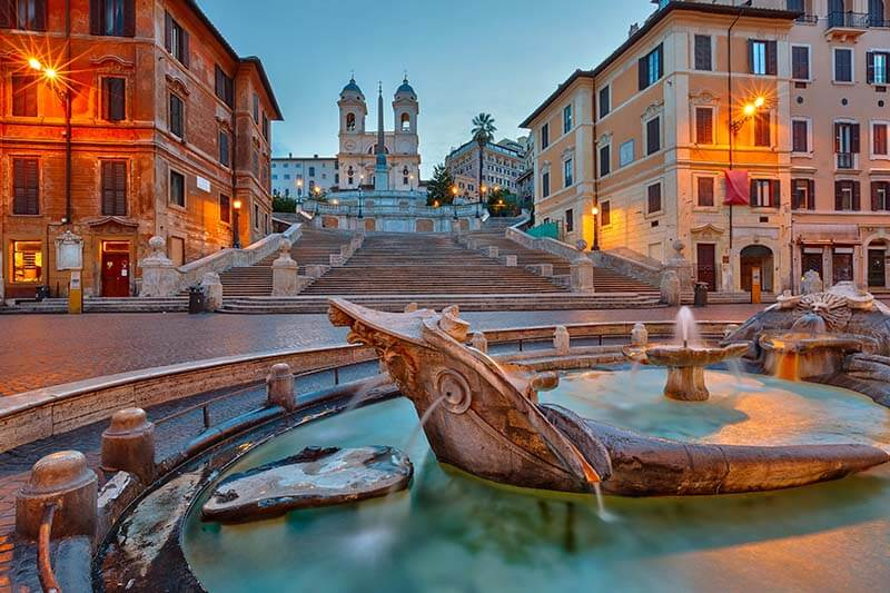 The Spanish Steps, with the Fountain of the Boat in the foreground.